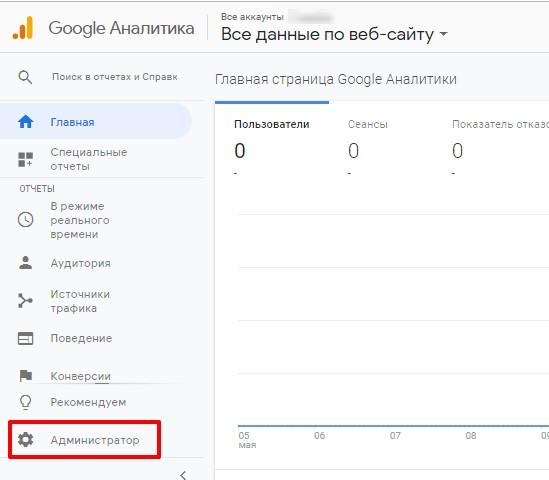 Привязка Google Search Console к Google Аналитика шаг 1
