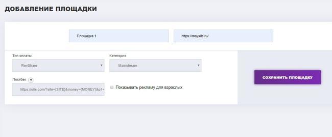 Заполнение необходимых полей для подключения сайта