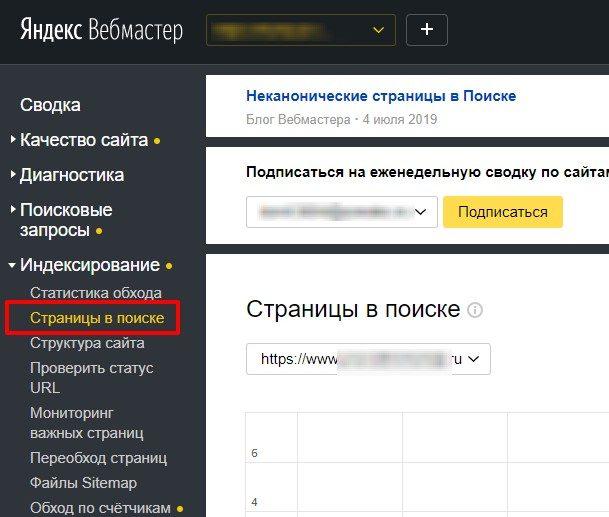 Просмотр проиндексированных страниц в отчете Яндекс Вебмастера