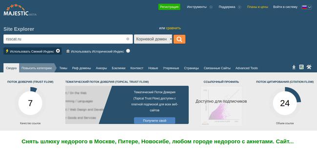 Проверка ссылки с помощью MajesticSeo
