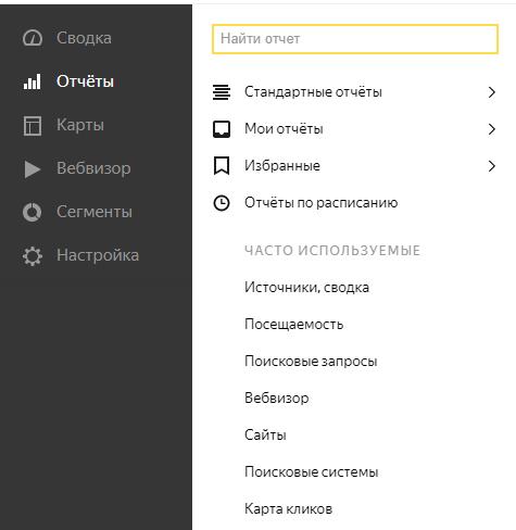 раздел отчеты в Яндекс Метрике