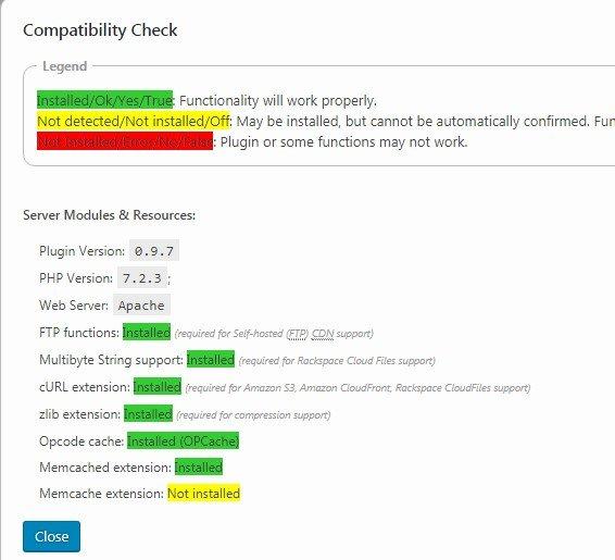 Проверка совместимости W3TC Часть2