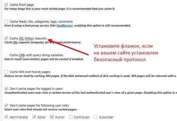 Настройка Page Cache в плагине W3TC
