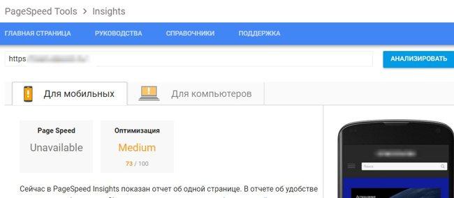 Инструмент проверки скорости сайта от гугл